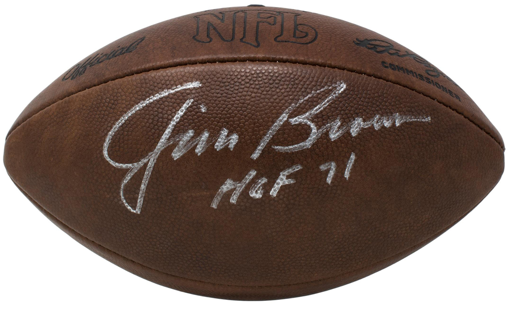 Jim Brown Signed Official Vintage NFL Duke Football HOF 71 BAS PSM-Powers Sports Memorabilia