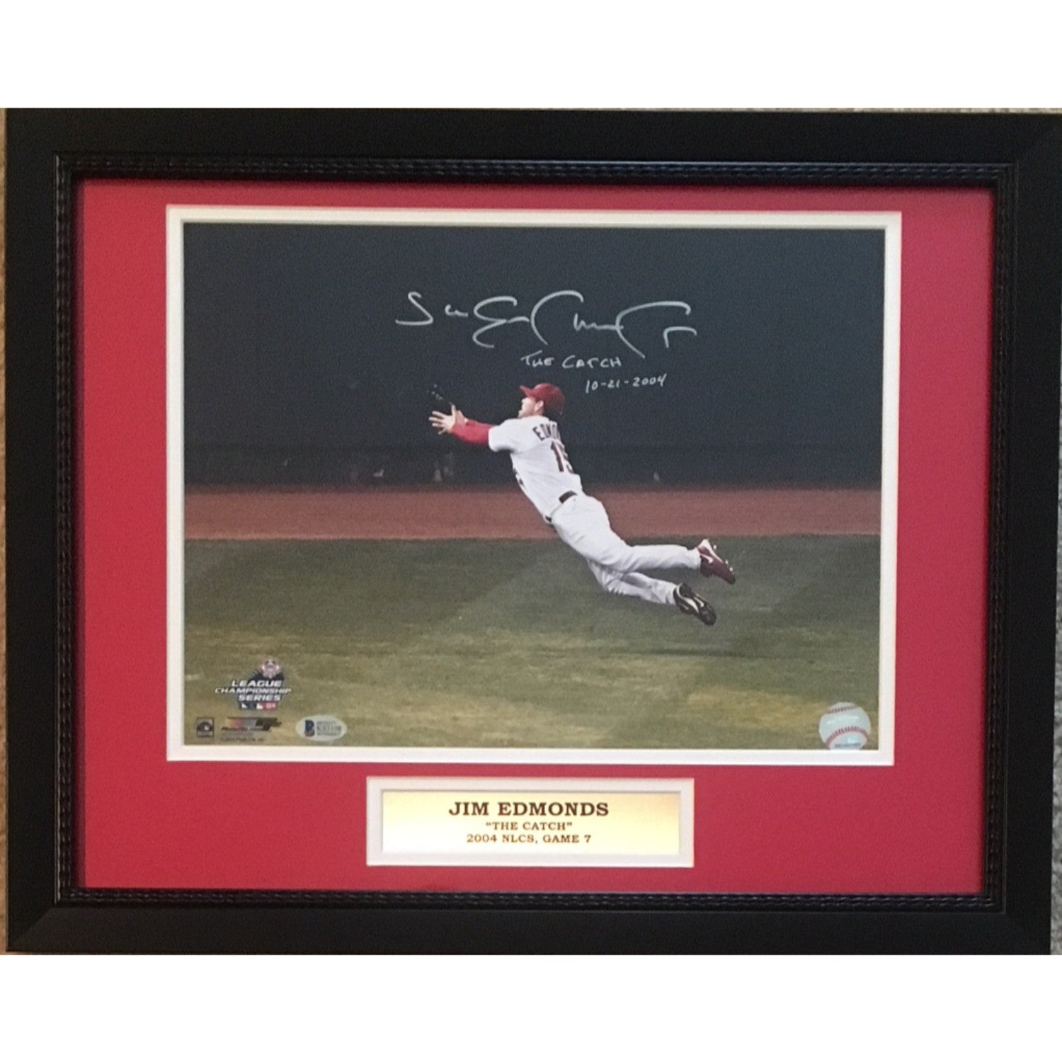 Jim Edmonds Autographed St Louis Cardinals 2004 NLCS Game 7 Catch Signed 11x14 Baseball Photo Framed Beckett BAS COA-Powers Sports Memorabilia