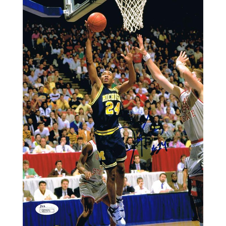 Jimmy King Autographed Michigan Basketball Fab 5 Five Signed 8x10 Photo JSA COA 4-Powers Sports Memorabilia