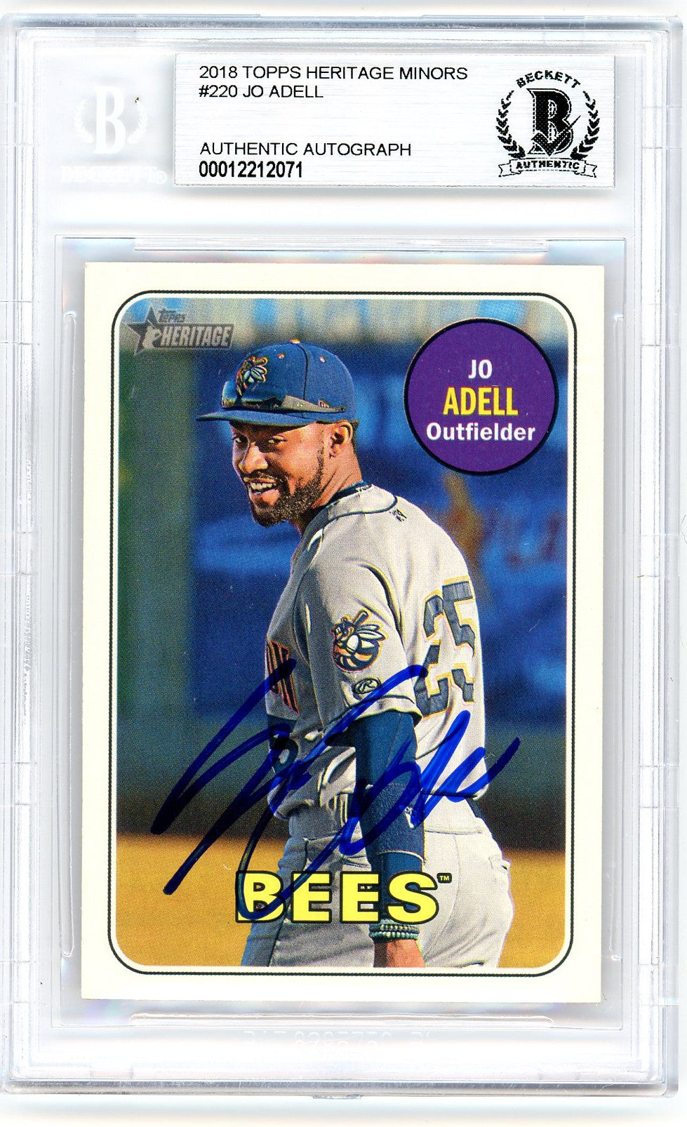 Jo Adell Los Angeles Angels Autographed 2018 Topps Heritage Minors Baseball Rookie Card RC #220 Beckett BAS Authenticated-Powers Sports Memorabilia