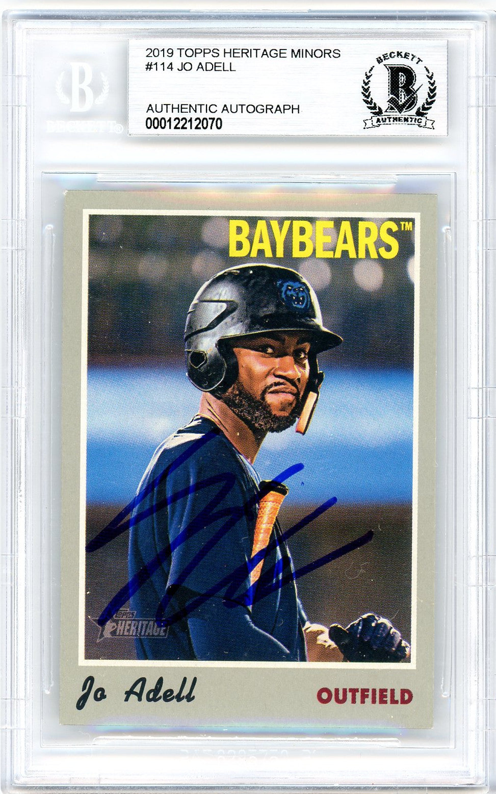 Jo Adell Los Angeles Angels Autographed 2019 Topps Heritage Minors Baseball Rookie Card RC #114 Beckett BAS Authenticated-Powers Sports Memorabilia