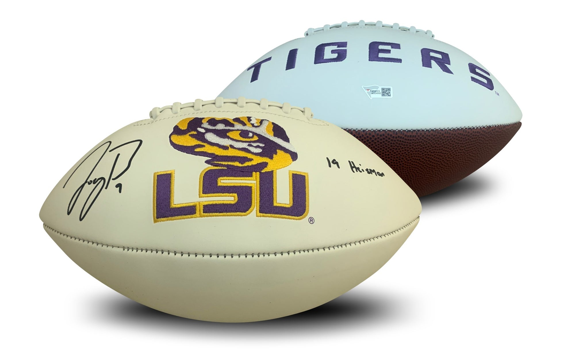 Joe Burrow Autographed LSU Tigers Signed Logo Football 2019 HEISMAN Fanatics Authentic COA-Powers Sports Memorabilia