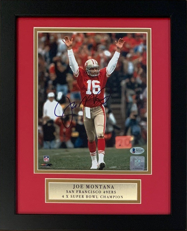Joe Montana Autographed San Francisco 49ers Signed Football 8x10 Framed Photo Beckett BAS COA-Powers Sports Memorabilia