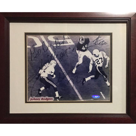 Johnny Rodgers Autographed Nebraska Football Signed 8x10 Framed Heisman Photo TRISTAR COA Photo