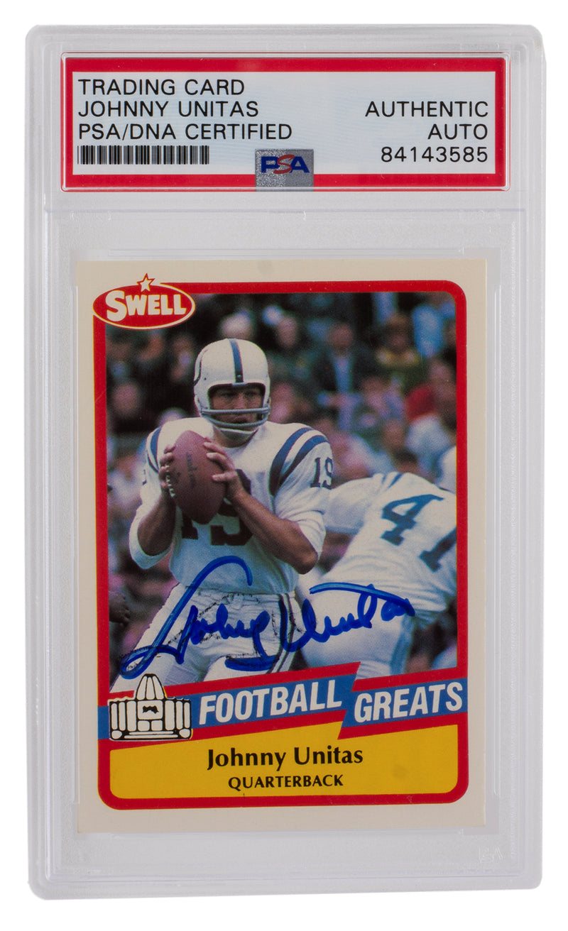 Johnny Unitas Colts Signed Slabbed 1989 Swell #104 Trading Card PSA/DNA PSM-Powers Sports Memorabilia