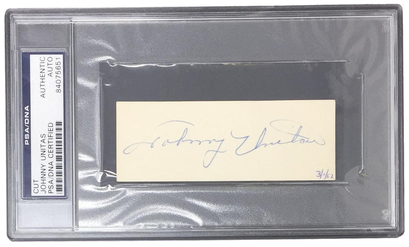 Johnny Unitas Baltimore Colts Signed Slabbed Cut Signature PSA 84075651 PSM-Powers Sports Memorabilia