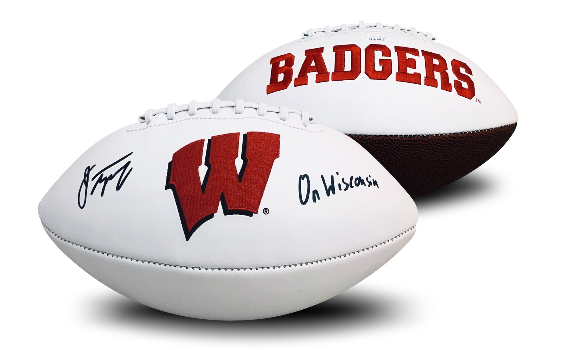 Jonathan Taylor Autographed Wisconsin Badgers Signed Full Size White Panel Logo Football ON WISCONSIN JSA COA-Powers Sports Memorabilia