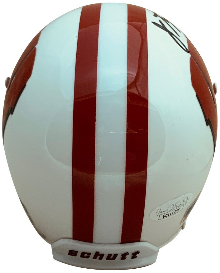 Jonathan Taylor Autographed Wisconsin Badgers Signed Football Authentic White Mini Helmet JSA COA-Powers Sports Memorabilia