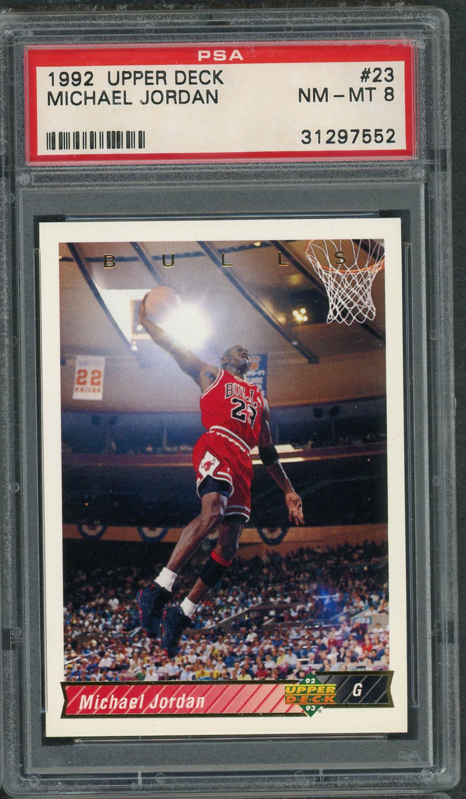 Michael Jordan Chicago Bulls 1992 Upper Deck Basketball Card #23 Graded PSA 8-Powers Sports Memorabilia
