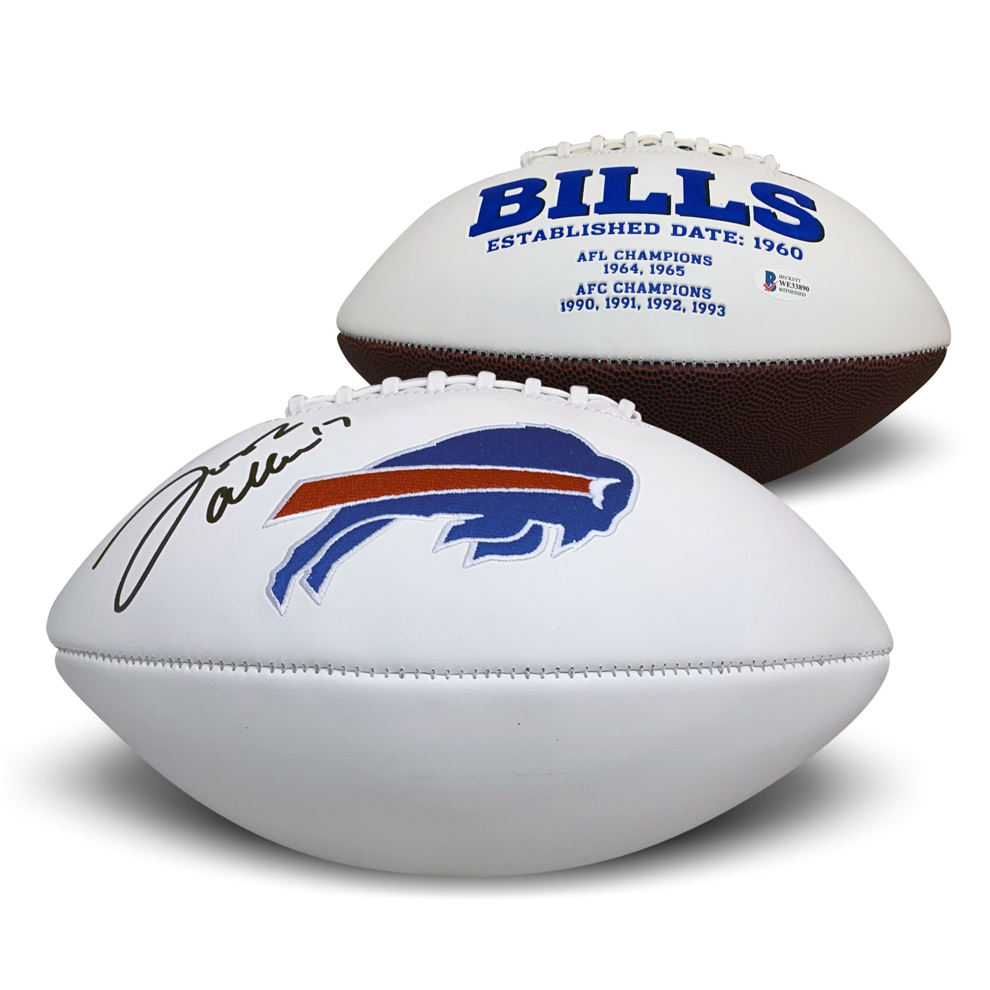 Josh Allen Autographed Buffalo Bills Signed Full Size White Panel Logo Football Beckett BAS COA-Powers Sports Memorabilia