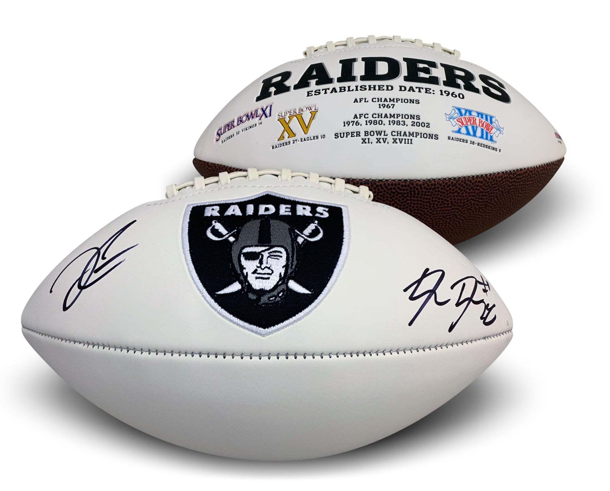 Josh Jacobs and Derek Carr Dual Autographed Oakland Raiders Signed NFL Logo Football PSA DNA COA-Powers Sports Memorabilia