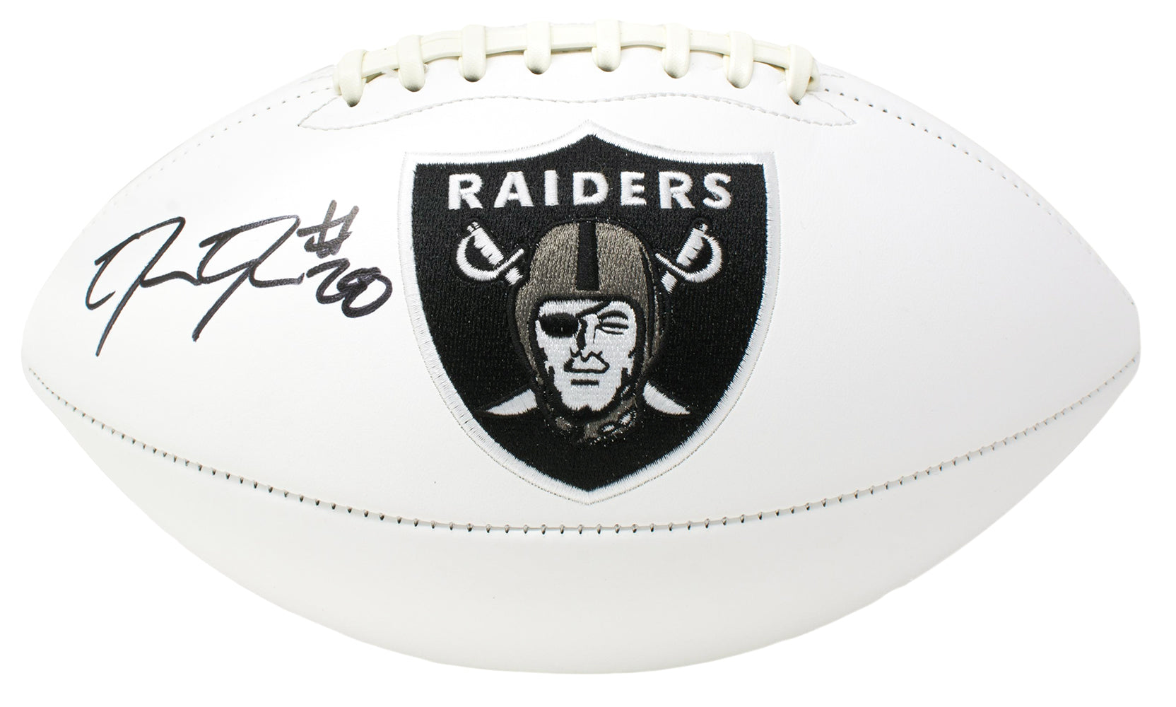 Josh Jacobs Signed Oakland Raiders Logo Football BAS PSM-Powers Sports Memorabilia