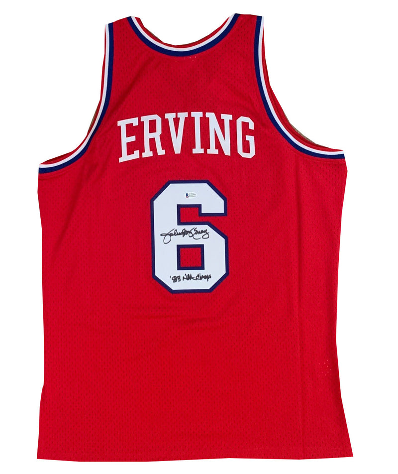Julius Erving Autographed Philadelphia 76ers Signed Mitchell and Ness Swingman Basketball Jersey 1983 NBA CHAMPS Beckett BAS COA-Powers Sports Memorabilia