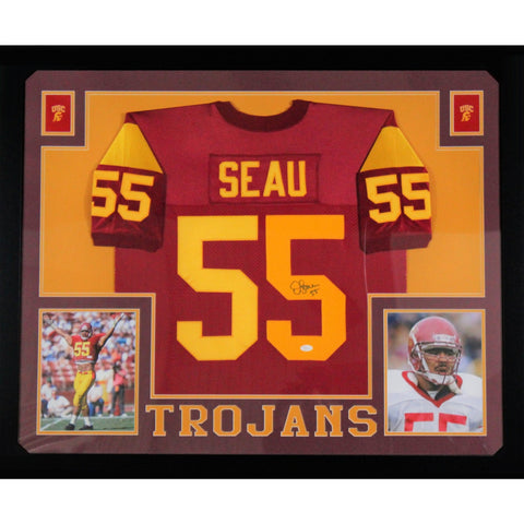 Junior Seau USC Autographed Red Signed Football Framed Jersey JSA COA-Powers Sports Memorabilia