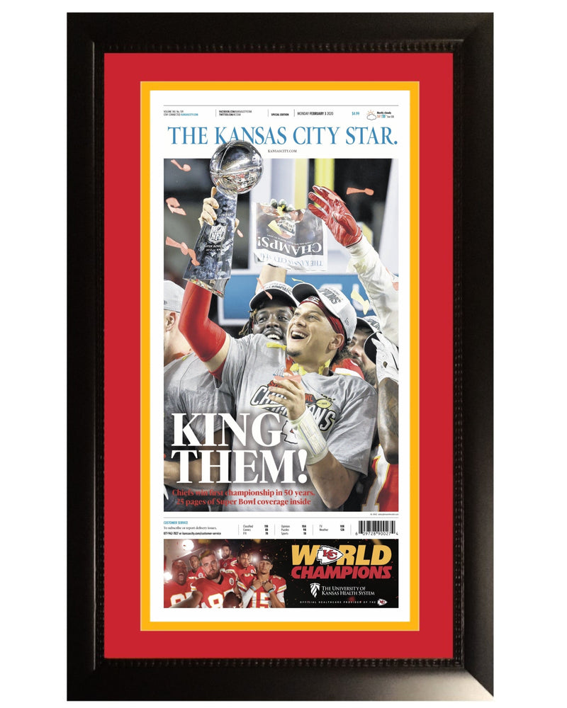 Kansas City Chiefs Super Bowl 54 LIV Champions Original Front Page KC Star Framed Newspaper With Patrick Mahomes 2/3/20-Powers Sports Memorabilia