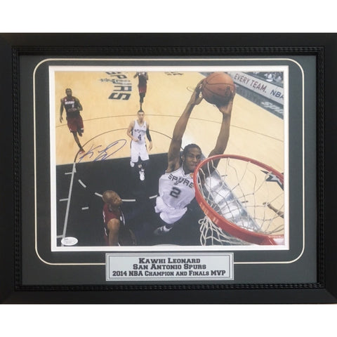 Kawhi Leonard Autographed San Antonio Spurs 2014 NBA Champion Finals MVP Signed Basketball 11x14 Framed Photo JSA COA 1-Powers Sports Memorabilia