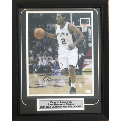 Kawhi Leonard Autographed San Antonio Spurs 2014 NBA Champion Finals MVP Signed Basketball 11x14 Framed Photo JSA COA 2-Powers Sports Memorabilia