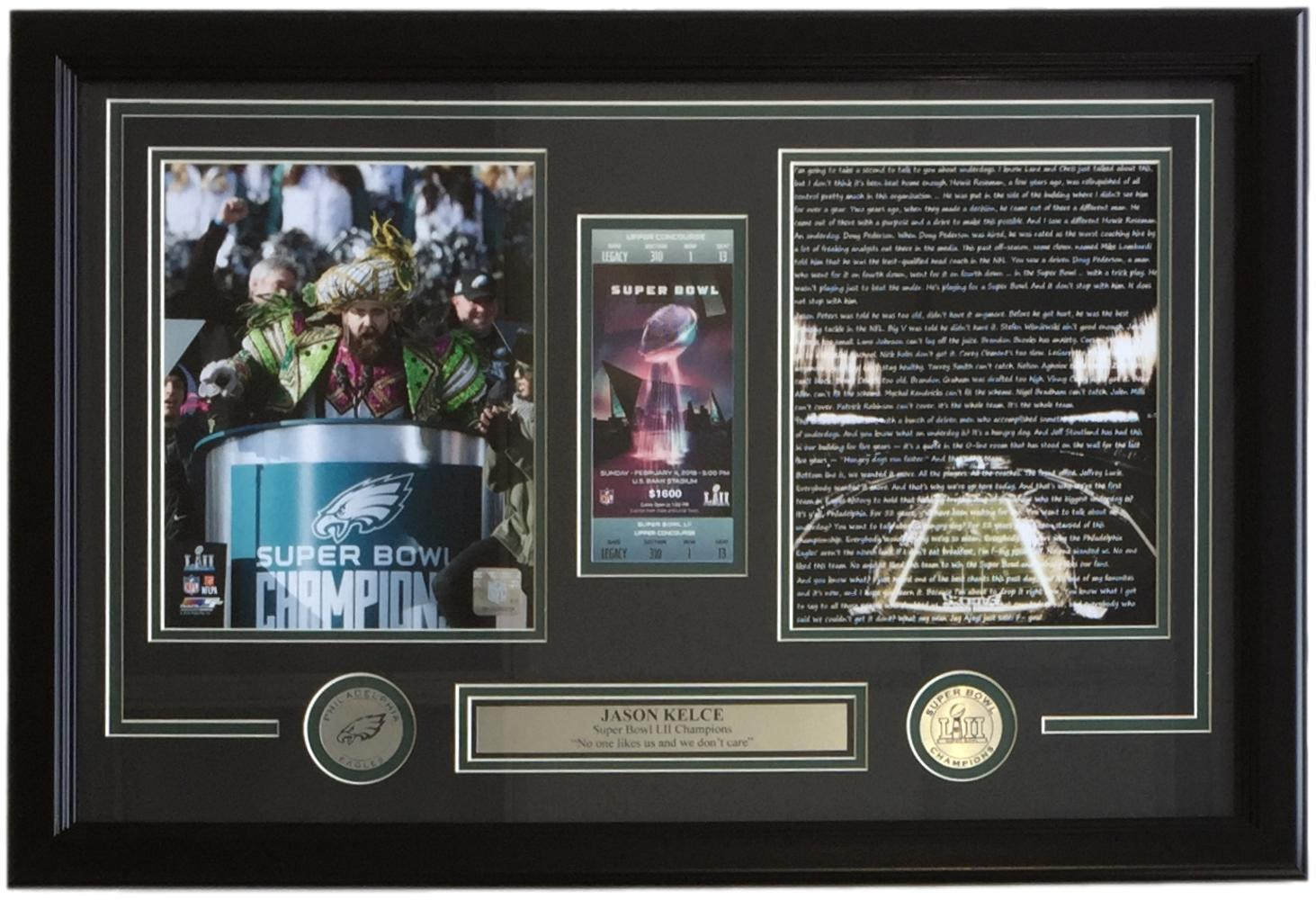 Jason Kelce Framed 16x32 Eagles SB Replica Ticket Parade Speech Photofile Photo PSM-Powers Sports Memorabilia