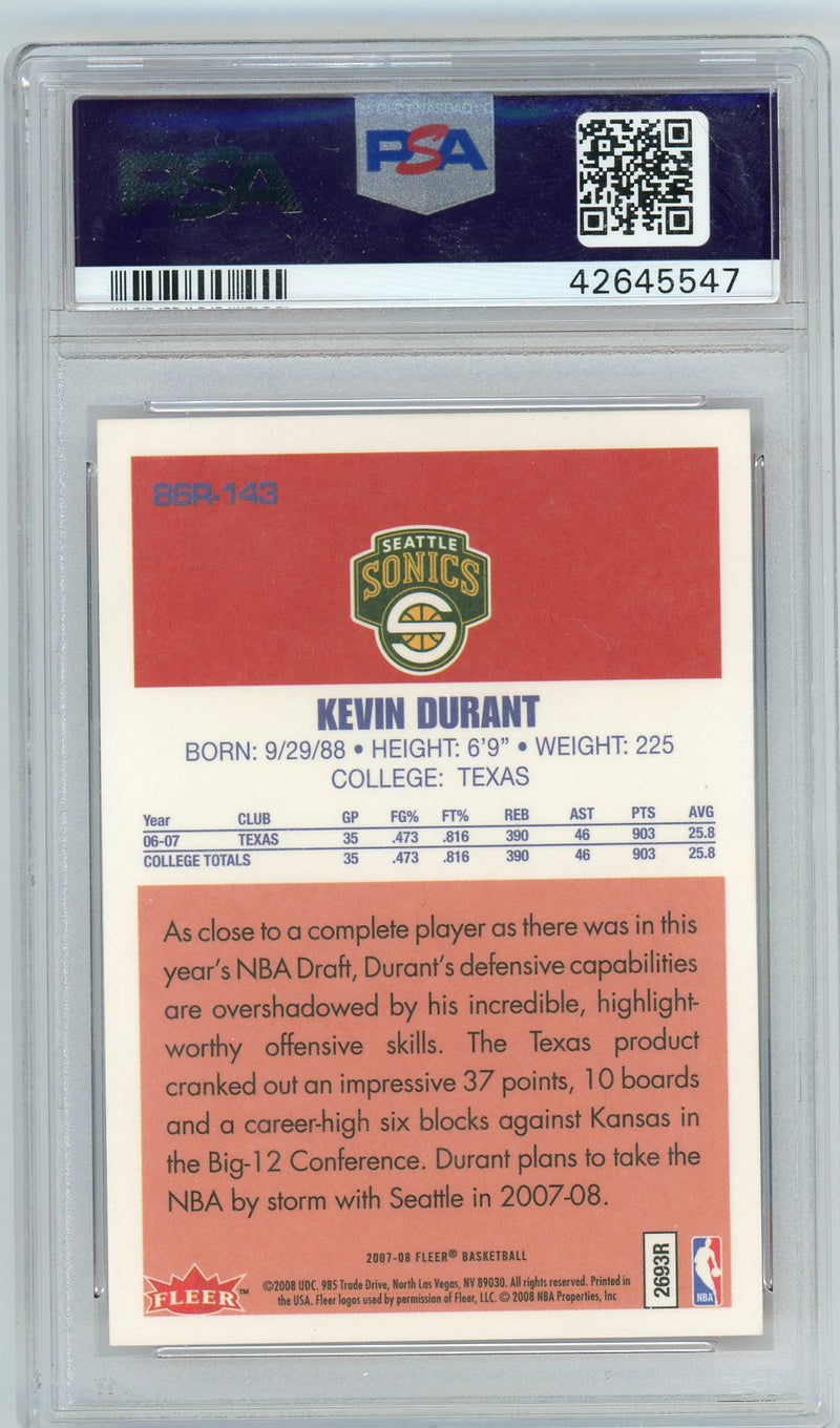 Kevin Durant Seattle Supersonics 2007 Fleer 1986 Retro Basketball Rookie Card RC #143 Graded PSA MINT 9-Powers Sports Memorabilia