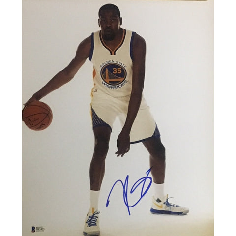 Kevin Durant Autographed Warriors Signed Basketball 11x14 Photo Beckett BAS COA-Powers Sports Memorabilia