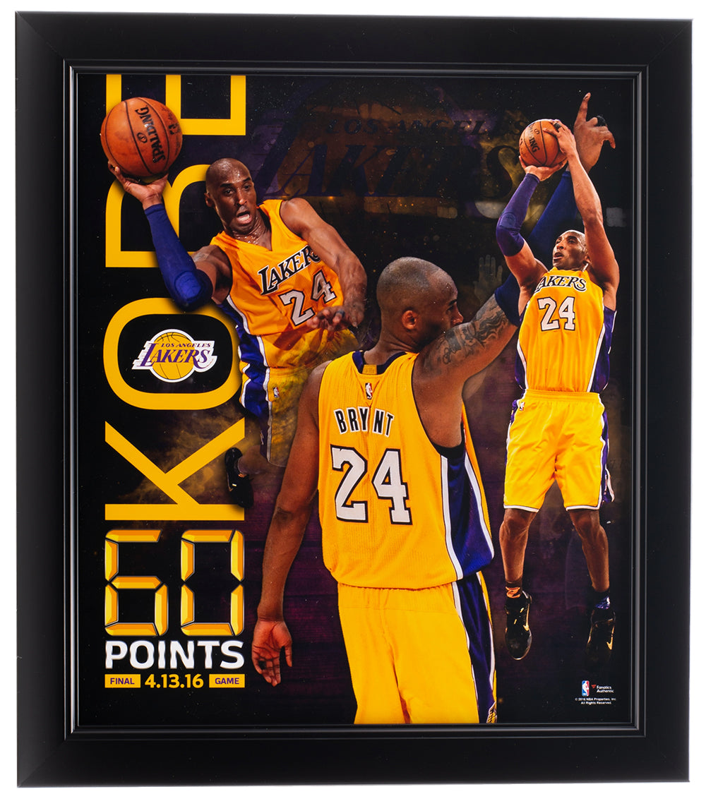 Kobe Bryant 11x13 Los Angeles Lakers 60 Point Frame PSM-Powers Sports Memorabilia