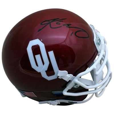 Kyler Murray Autographed Oklahoma Sooners Heisman Trophy Signed Football Mini Helmet PSA DNA COA BLK-Powers Sports Memorabilia
