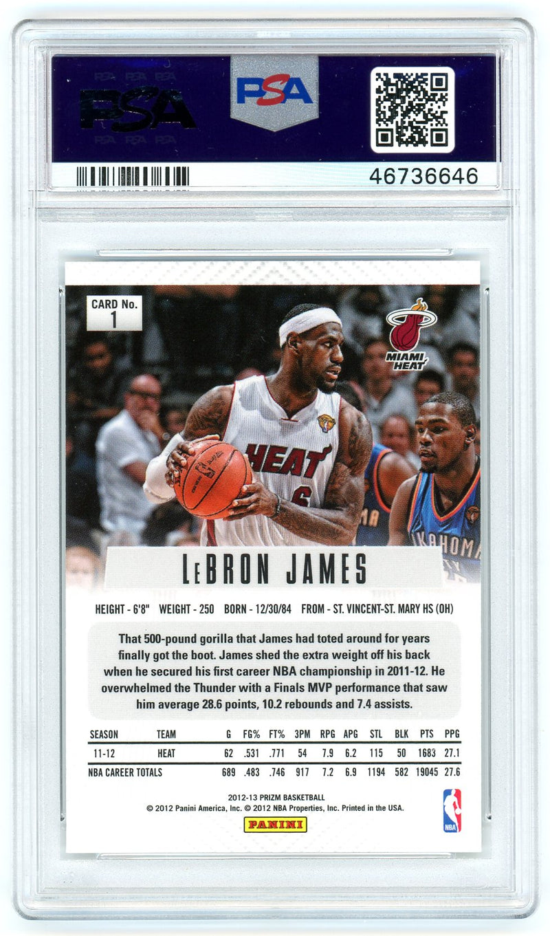 LeBron James Miami Heat 2012-13 Panini Prizm Basketball Card #1 Graded PSA 9 MINT-Powers Sports Memorabilia