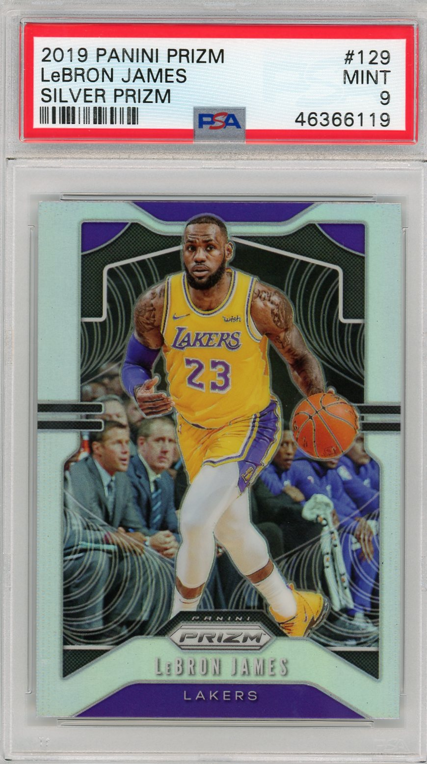 LeBron James Los Angeles Lakers 2019 Panini Prizm Silver Basketball Card #129 Graded PSA 9-Powers Sports Memorabilia