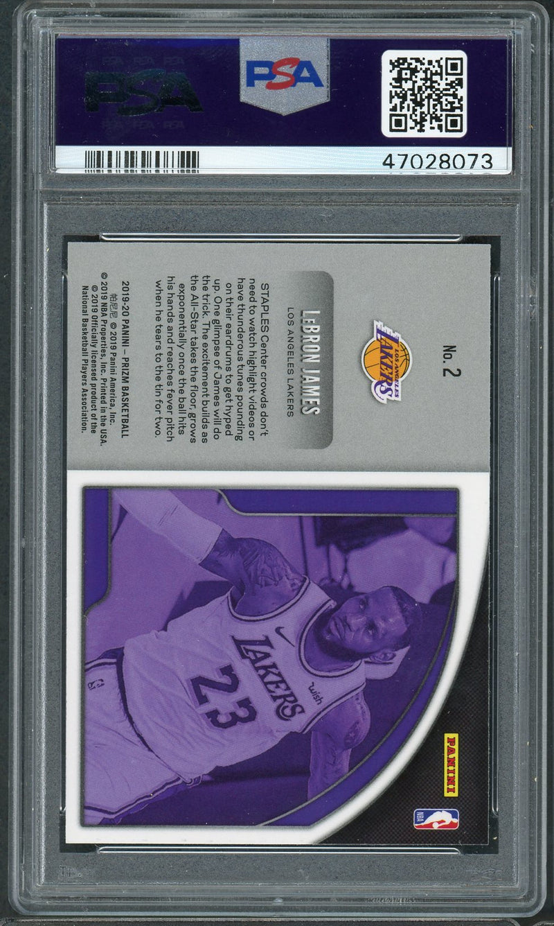 LeBron James Los Angeles Lakers 2019 Panini Prizm Get Hyped Basketball Card #2 Graded PSA 9 MINT-Powers Sports Memorabilia