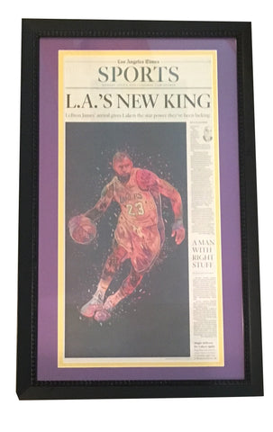 LeBron James Los Angeles Lakers LA Times Framed Basketball Newspaper NEW KING-Powers Sports Memorabilia