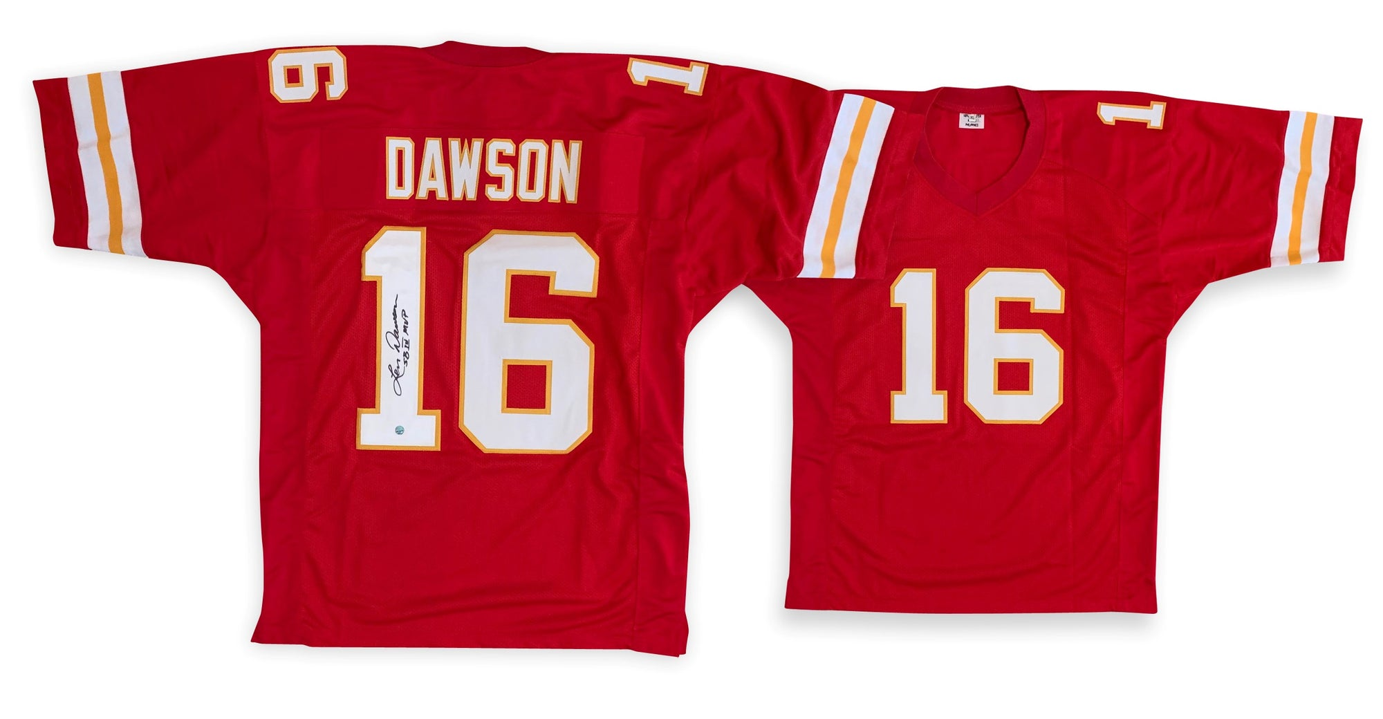 Len Dawson Autographed Football Pro Style Signed Red Jersey MVP APE COA-Powers Sports Memorabilia