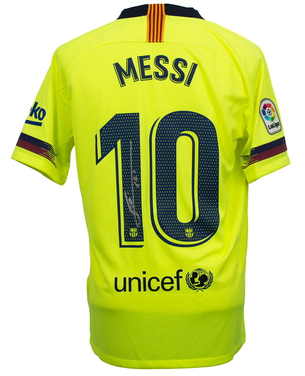 new style fbea9 bcada Lionel Messi Signed Nike Barcelona Away Soccer Jersey Medium Messi COA+BAS  PSM
