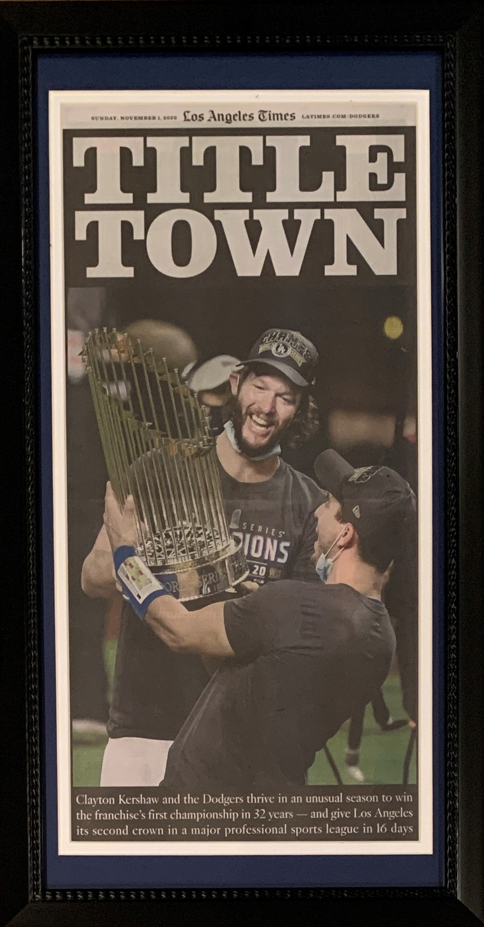 Los Angeles Dodgers 2020 World Series Champions TITLE TOWN Times Framed Original Baseball Newspaper 11/1/20-Powers Sports Memorabilia