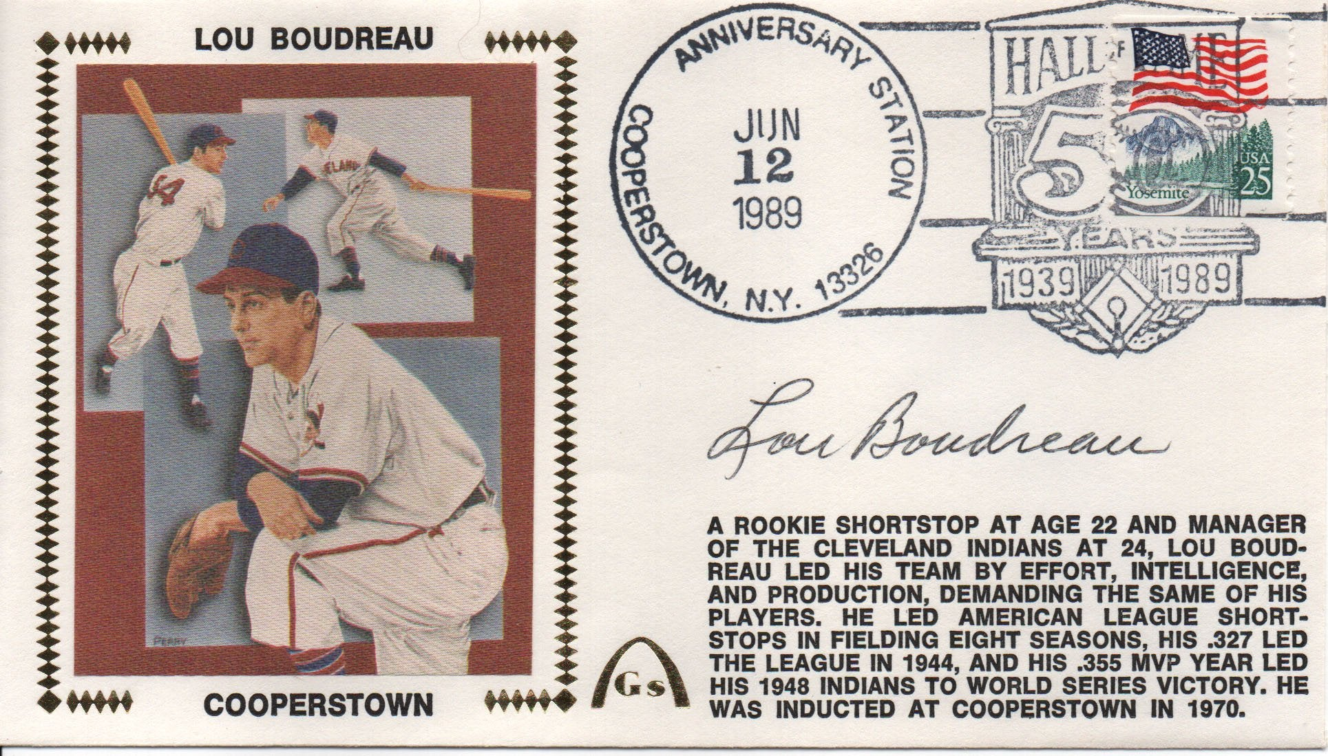 Lou Boudreau Autographed June 12, 1989 First Day Cover PSM-Powers Sports Memorabilia