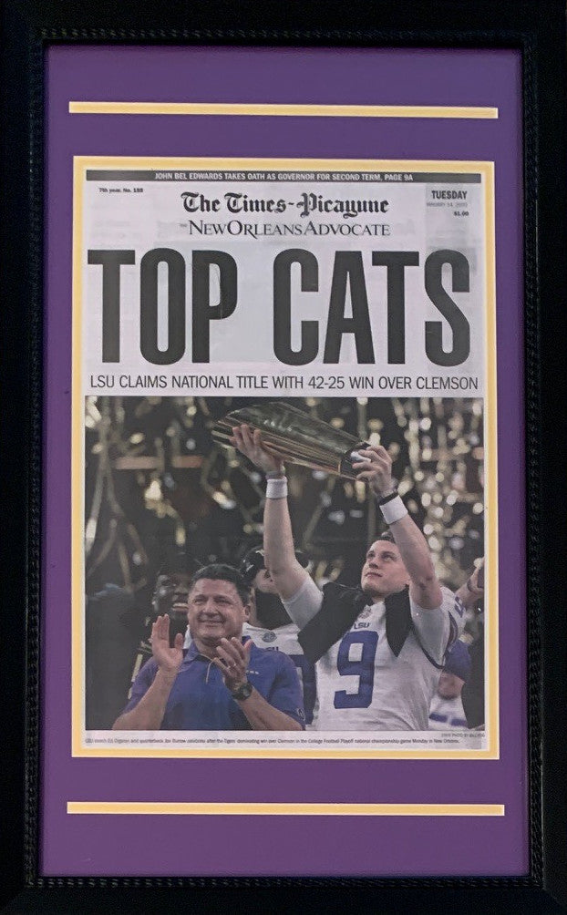 LSU Tigers 2019 Football National Champions New Orleans Advocate Top Cats Framed Newspaper Original Front Page With Joe Burrow-Powers Sports Memorabilia