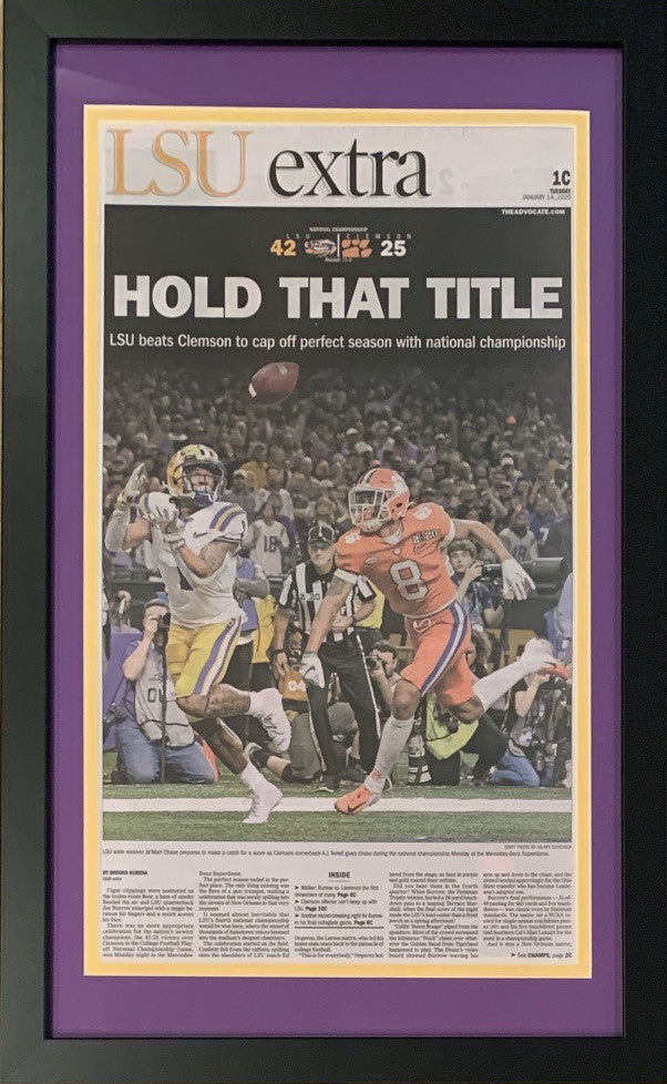 LSU Tigers 2019 Football National Champions New Orleans Advocate Hold That Title Framed Newspaper Original Front Page-Powers Sports Memorabilia