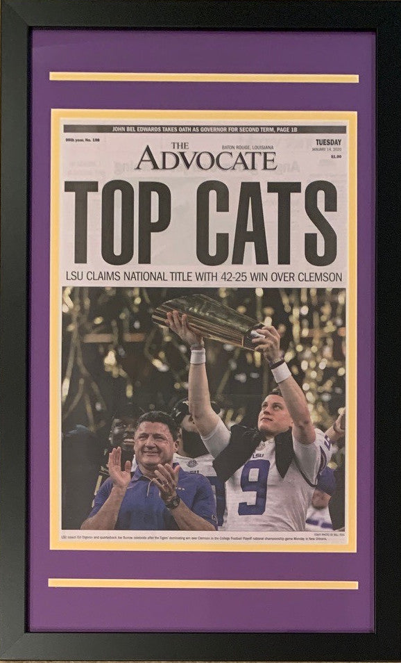 LSU Tigers 2019 Football National Champions New Orleans Advocate Top Cats Framed Newspaper Original Front Page With Joe Burrow 2-Powers Sports Memorabilia