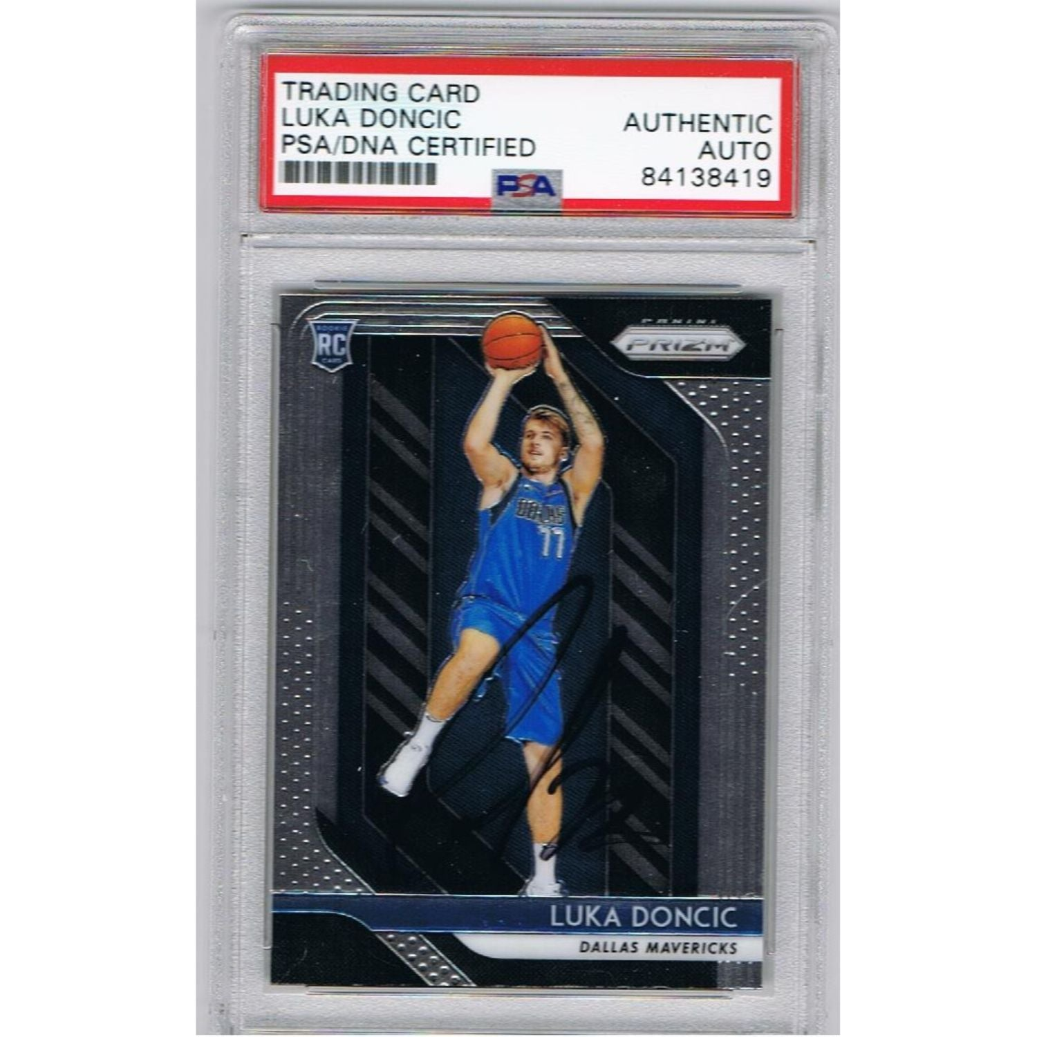 Luka Doncic Dallas Mavericks Autographed Panini Prizm Signed Basketball Rookie Trading Card RC PSA DNA-Powers Sports Memorabilia