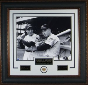 Joe DiMaggio NY Yankees Engraved Signature Series 16x20 Photo Premium Leather Framing w/Mickey Mantle PSM-Powers Sports Memorabilia