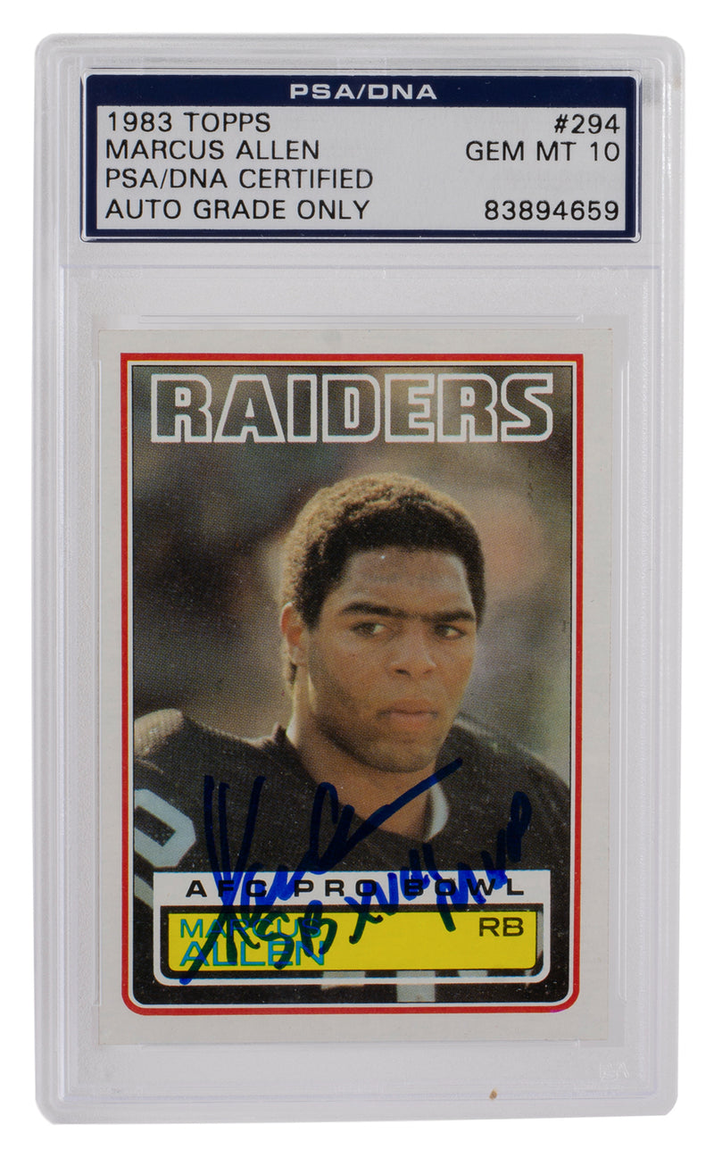 Marcus Allen Raiders Signed Slabbed 1983 Topps #294 Rookie RC MVP Gem MT 10 PSA PSM-Powers Sports Memorabilia