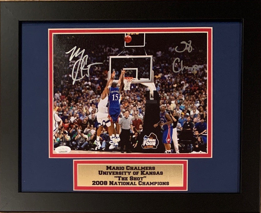 Mario Chalmers Autographed Kansas Jayhawks THE SHOT 2008 National Champions Signed Framed 8x10 Basketball Photo JSA COA-Powers Sports Memorabilia