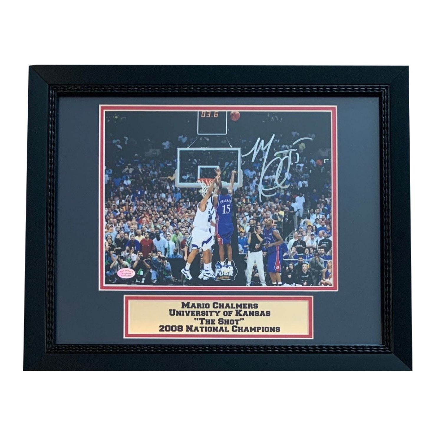 Mario Chalmers Autographed Kansas Jayhawks THE SHOT Signed Framed 8x10 Basketball Photo-Powers Sports Memorabilia
