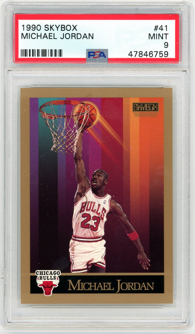 Michael Jordan Chicago Bulls 1990-91 Skybox Basketball Card #41 Graded PSA 9 MINT-Powers Sports Memorabilia