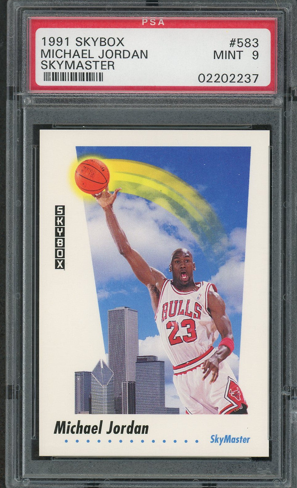 Michael Jordan Chicago Bulls 1991 Skybox Skymaster Basketball Card #583 Graded PSA 9 MINT-Powers Sports Memorabilia