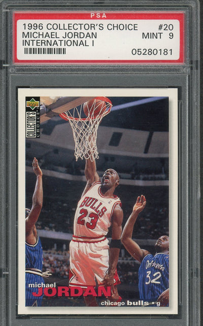 Michael Jordan Chicago Bulls 1996 Collectors Choice International 1 Basketball Card #20 Graded PSA 9 MINT-Powers Sports Memorabilia