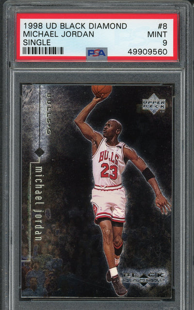 Michael Jordan Chicago Bulls 1998 Upper Deck Black Diamond Basketball Card #8 Graded PSA 9 MINT-Powers Sports Memorabilia