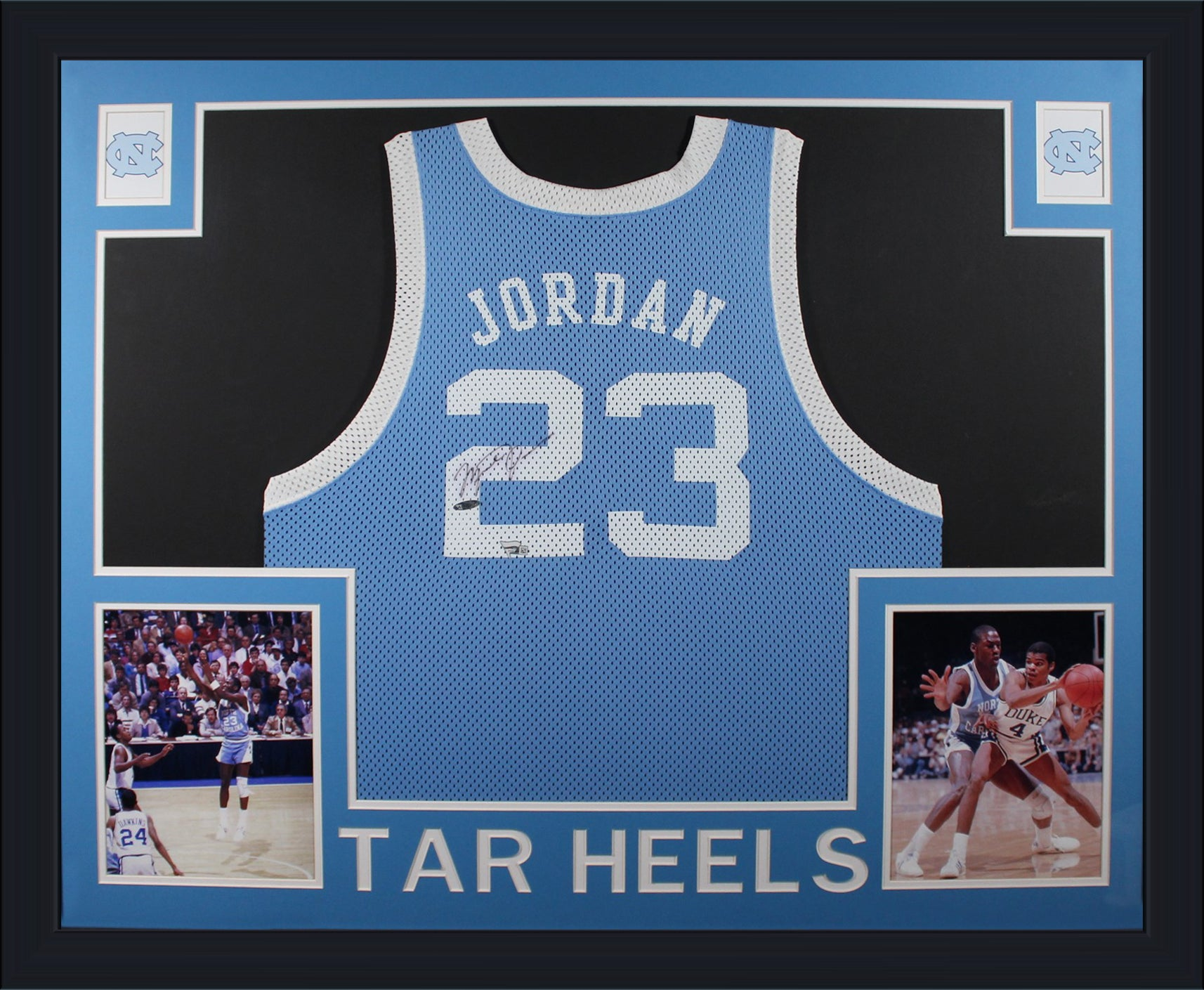 Michael Jordan Autographed North Carolina Tar Heels UNC Signed Basketball Framed Jersey Upper Deck UDA Fanatics Authentic COA-Powers Sports Memorabilia