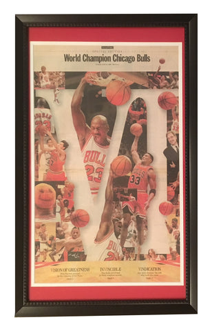 Michael Jordan Chicago Bulls 1998 6th Basketball Championship Chicago Tribune Framed Newspaper-Powers Sports Memorabilia