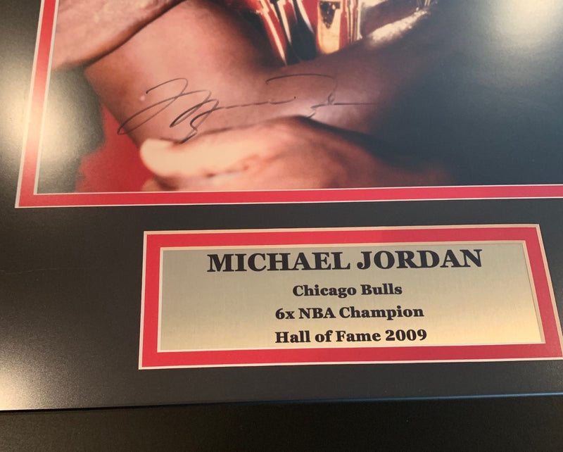Michael Jordan Autographed Chicago Bulls Signed 12x18 Framed Basketball Trophy Photo Upper Deck UDA COA-Powers Sports Memorabilia