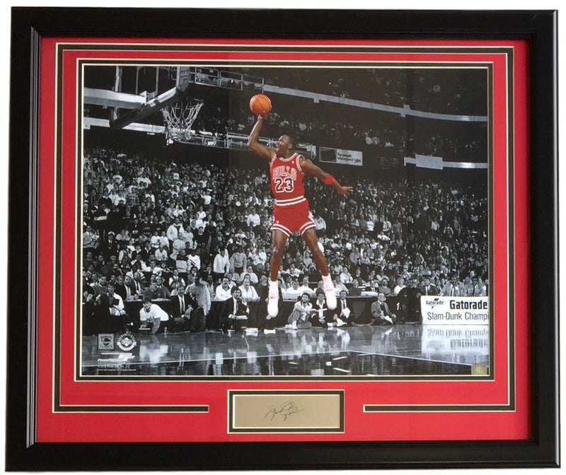 Michael Jordan Framed 16x20 Spotlight Dunk Photo w/ Laser Engraved Signature PSM-Powers Sports Memorabilia